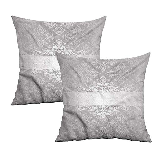 - Khaki home Grey Square Pillowcase Protector Classical Floral Scroll Square Pillowcase Protector Cushion Cases Pillowcases for Sofa Bedroom Car W 16