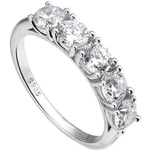 EVER FAITH 925 Sterling Silver Prong Round CZ Half Eternity Engagement Bride Ring Clear - Size 7 by EVER FAITH