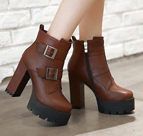 CHFSO Womens Stylish Waterproof Faux Fur Lined Buckle Zipper Chunky High Heel Platform Warm Ankle Winter Boots Brown CNpCezEBDM