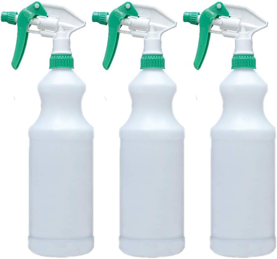 Pack of 3 CARCAREZ Empty 32 oz Plastic Spray Bottles with Adjustable Head Sprayer