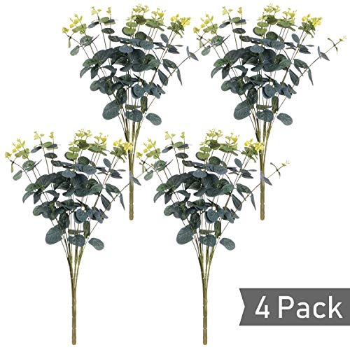 Lvydec 4 Pcs Artificial Silver Dollar Eucalyptus Leaf Branches, Fake Greenery Foliage Plants with Total 20 Stems for Garden, Wedding, Home, Outdoor/Indoor Decor