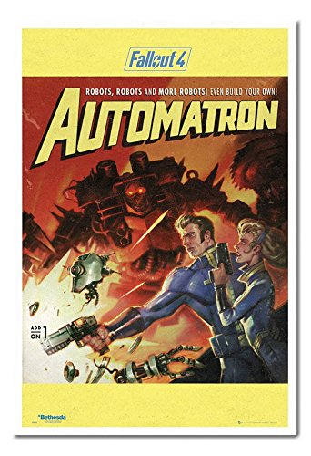 Fallout 4 Automatron Poster Cork Pin Memo Board White Framed - 96.5 x 66 cms (Approx 38 x 26 inches)