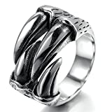 Alimab Stainless Steel Finger Rings Silver Black Dragon Claw Punk for Men US Size 13