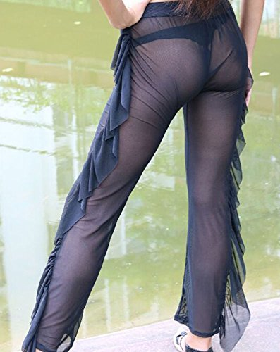 0a8a70f173 Women Sexy Perspective Ruffle Mesh Sheer Swim Pants Bikini Bottom Cover Up  (L, Black