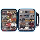 YZD Trout Fly Fishing Flies Collection 120 Premium Flies Dry Wet Nymph Streamers Fly Assortment Fly Box Flyfishing Flys Lures Kits (Ultimate Trout Fly Selection 120Pcs)