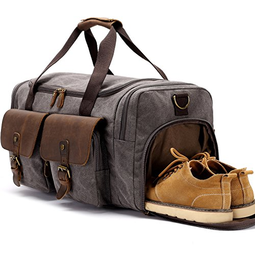 BLUBOON Canvas Duffle Bag Oversized Genuine Leather Overnight Bag for Men and Women Travel Carry on Luggage Tote Bag with Shoe Compartment (Grey)