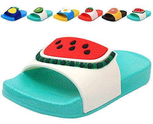 Femizee Colorful Fruit Boys Girls Slide Sandals Summer Beach Pool Bath Slippers (Toddler/Little Kid) Watermelon SHO1225 CN31