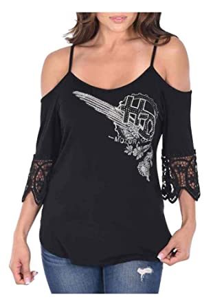 4bbf4e13055b80 Harley-Davidson Women s Deco Daisy Cold Shoulder w Straps 3 4 Sleeve ...