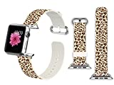 38mm Apple Watch Band Soft Leather Sport Style Series 1 Series 2 and Series 3 Men Women Wrist Strap Replacement - Fresh leopard
