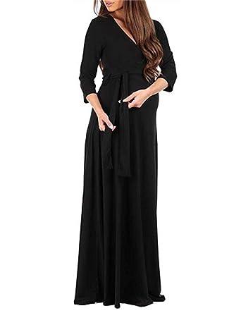 e622074692 HMei Maternity Dress Women s 3 4 Sleeve Faux Wrap V Neck Long Maxi Dresses  with