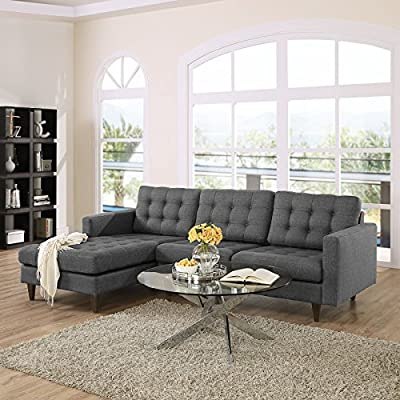 LexMod Empress Left-Facing Leather Sectional Sofa in White