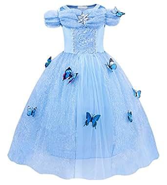 AmzBarley Vestido de Traje Niñas Princesa Navidad Fiesta Boda,Infantil Disfraz Frozen Niña con Mariposas,Larga Vestir Costume para Carnaval Cumpleaños Boda de Coche Cosplay Halloween 2-3 años 100