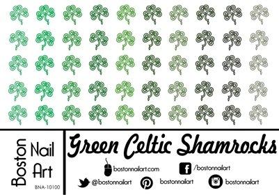 (Green Celtic Shamrocks Waterslide Nail Decals -)
