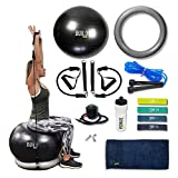 Gearrific Exercise Ball, Base & Resistance Bands Set + Free Pump, Jump Rope, Pilates Bands, Gym Towel & Water Bottle