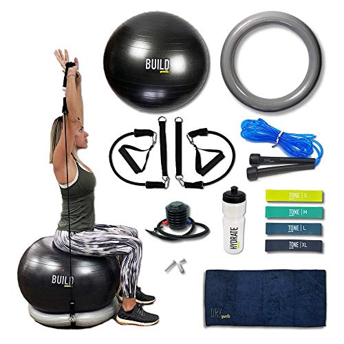 Gearrific Exercise Ball, Stability Base & Resistance Bands Set + Free Pump, Jump Rope, Workout Bands, Gym Towel & Water - Exercise Ball Back