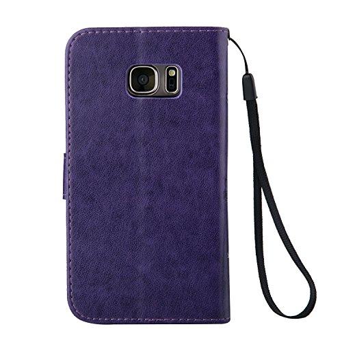 SRY-Funda móvil Samsung Funda Galaxy Note 5 de Samsung Galaxy, Estuche retro de folio con caja de folletos y correa para la mano Funda protectora de Shell para Samsung Galaxy NOTA 5 ( Color : Purple , Purple