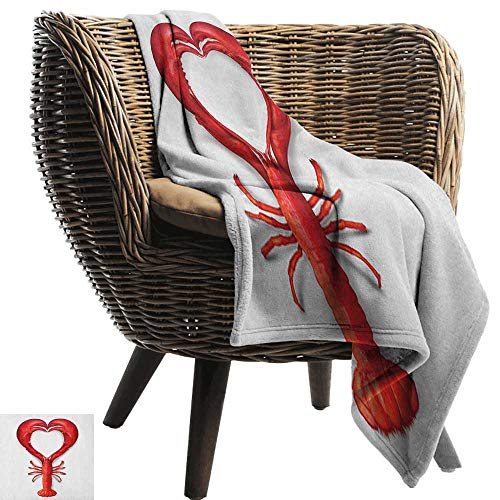 warmfamily Reversible Blanket Sea Animals A Boiled Lobster Shaped as A Heart Symbol Seafood Love Valentines Restaurant Menu Art Traveling,Hiking,Camping,Full Queen,TV,Cabin70 Wx84 L