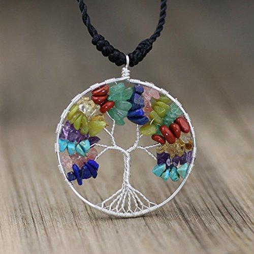 NewDreamWorld Pure Silver Tree of Life necklace - Rainbow Tree of life - Lapis/Strawberry Quartz/Turquoise/Amethyst/Lemon Jade//Citrine/Red Jasper/Jade -