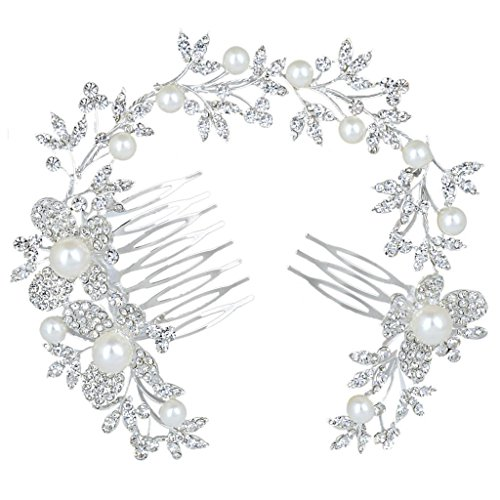 BriLove Women's Wedding Bridal Ivory Color Simulated Pearl Butterfly Crystal Bendable Headband Hair Comb (Crystal Headband Butterfly)