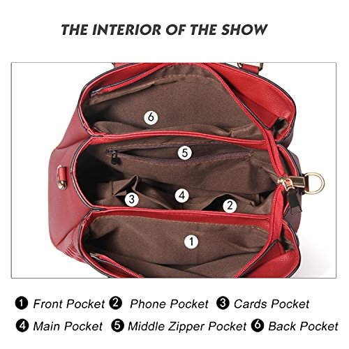 Top Tote Purses Red and PU Handle Satchel Fashion Bags Shoulder Handbags Womens Leather wn0ES47qIE