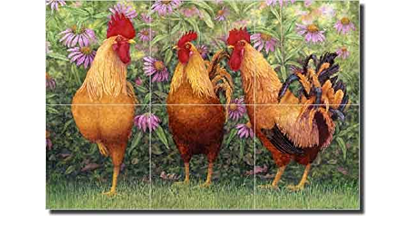 Rooster by Robin Wethe Altman Country Life Ceramic Tile Mural 18 x 18 Kitchen Shower Backsplash