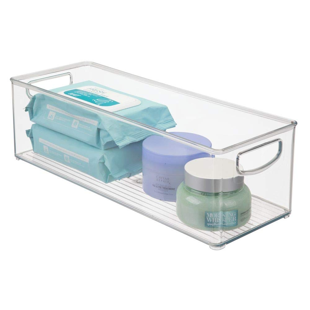 mDesign Storage Bins with Built-in Handles for Organizing Hand Soaps, Body Wash, Shampoos, Lotion, Conditioners, Hand Towels, Hair Accessories, Body Spray, Mouthwash - 16'' Long, 4 Pack - Clear by mDesign (Image #7)