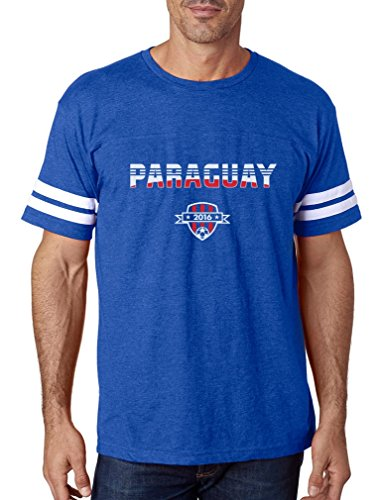Paraguay National Soccer Team 2016 Paraguayan Fans Football Jersey T-Shirt X-Large Blue/White ()