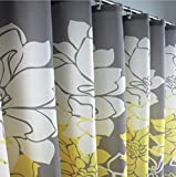 Yellow Shower Curtain Eforcurtain Home Fashion Floral Print Pattern Shower Curtain Water Proof Mildew Repellent Fabric, X Long Size 72