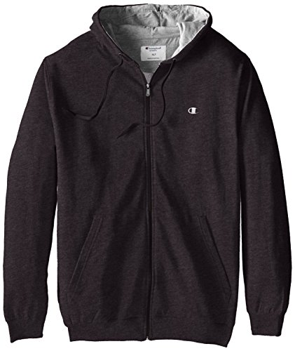 Champion Men's Big-Tall Full Zip Fleece Hoodie, Charcoal Heather, 5X Big And Tall Fleece Sweatshirt