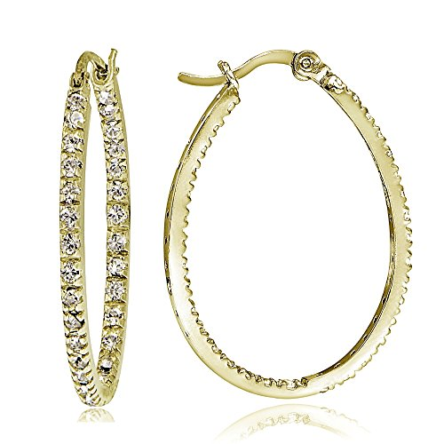 Hoops & Loops Gold Flash Sterling Silver Cubic Zirconia Inside Out 30mm Oval Hoop Earrings ()