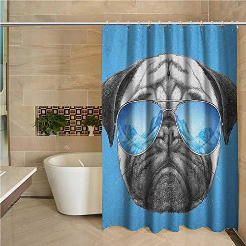 Lohebhuic Pug Precision Custom Shower Curtain Pug Portrait with Mirror Sunglasses Hand -
