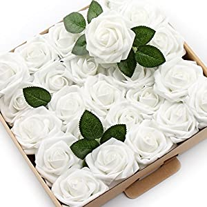 ICEYUN Artificial Roses 50pcs Real Looking Fake Flower with Leaves stem for Wedding DIY Bouquets Party Baby Shower Home Decorations 4