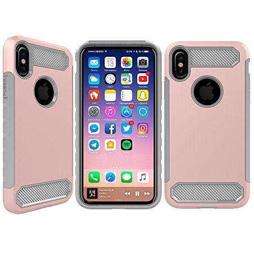 Bear Motion for iPhone X/XS - Premium PC + Carbon Fiber Shockproof Case for iPhone X/XS Impact-Resistant (Rose/Gray)