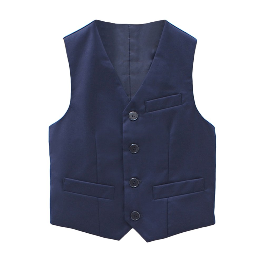 Zhhlaixing Cool Boys Wedding Formal Suit Vest Kids Gentleman Solid color Waistcoat T016