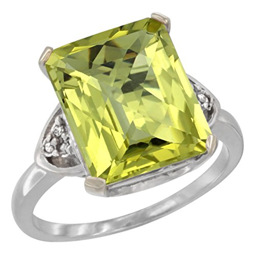 10K White Gold Natural Lemon Quartz Ring Octagon 12x10mm Diamond Accent, size 8.5