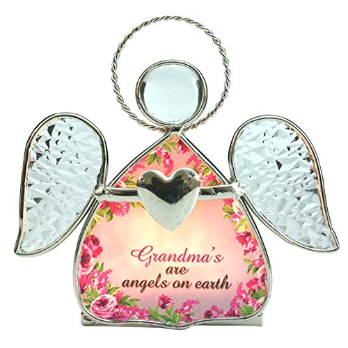 BANBERRY DESIGNS Grandma Candle Holder - Glass Angel Tealight Candleholder with Flowers - Grandmas are Angels On Earth