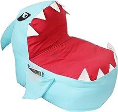 Lmeison Stuff 'n Sit - Animal Storage Bean Bag Chair, Soft Canvas Plush Toy Organizer, Towels & Clothes Stuffed Storage Bag(No Stuffing) (Blue Shark)
