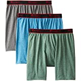 Champion Men's 3 Pack Active Performance Regular Leg Boxer Briefs, Mykonos/Ebony/Eden Heathers, Medium