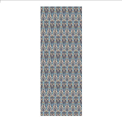 3D Decorative Film Privacy Window Film No Glue,Asian,Vintage Eastern Abstract Floral Pattern with Leaves Grid Style Lines,Pale and Dark Blue Beige,for Home&Office