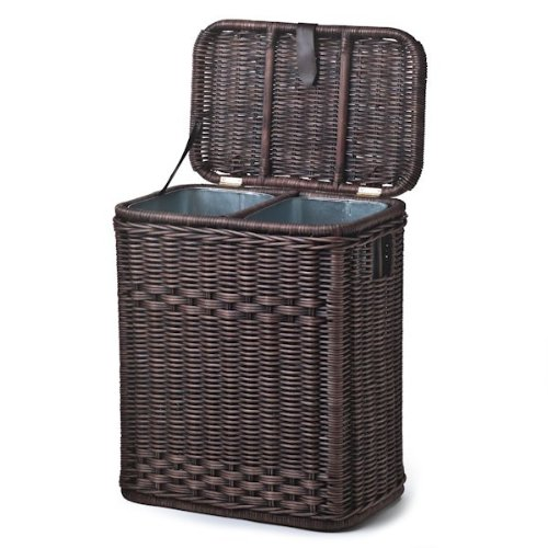 The Basket Lady Divided Wicker Recycling Basket with Removable Metal Liner by The Basket Lady