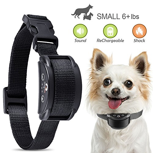 2018 New Upgraded Rechargeable Dog Bark Collar and Anti-Barking with 5 Levels Automatic No Bark Collar for Small Medium Large Dogs No Harm Shock Safe Stop Bark (6+lbs) (Small, Medium, Large) by Paipaitek