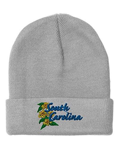 Jessamine Light - Yellow Jessamine South Carolina Sewed Unisex Adult Acrylic Beanie Winter Hat - Light Grey, One Size
