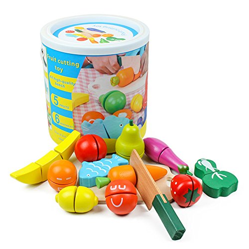 LEBBIN Cutting Food Wooden Play Food Set Educational Toy Pretend Food with Knife Fruit Vegetable Fish and Cutting Board