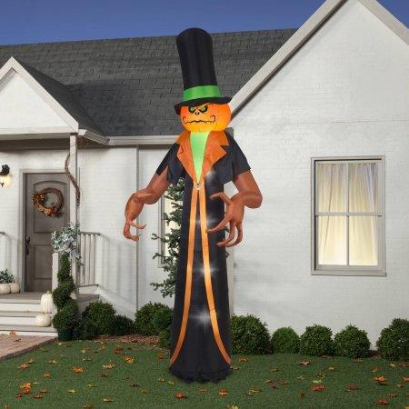 Gemmy Airblown Inflatable 12' X 5' Pumpkin Reaper Halloween Decoration