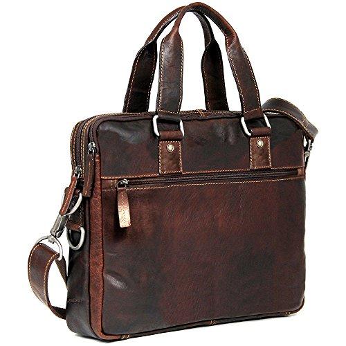 Jack Georges Voyager Slim Double Entry Top Zip Leather Laptop Briefcase in Brown Jack Georges Slim Briefcase