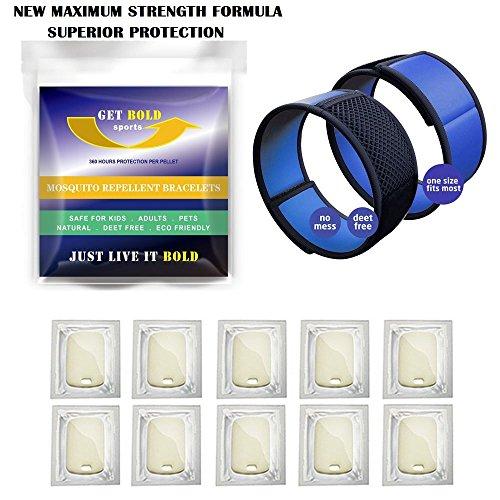 GET BOLD SPORTS Waterproof Mosquito Repellent Bracelet, Pack of 2 / 10 Refills - Blue