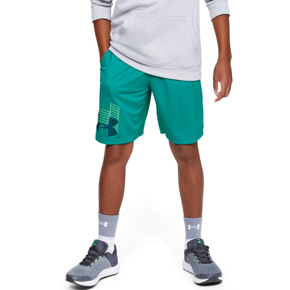 Under Armour boys Prototype Logo Shorts, Teal Rush (454)/Teal Vibe, Youth Small by Under Armour
