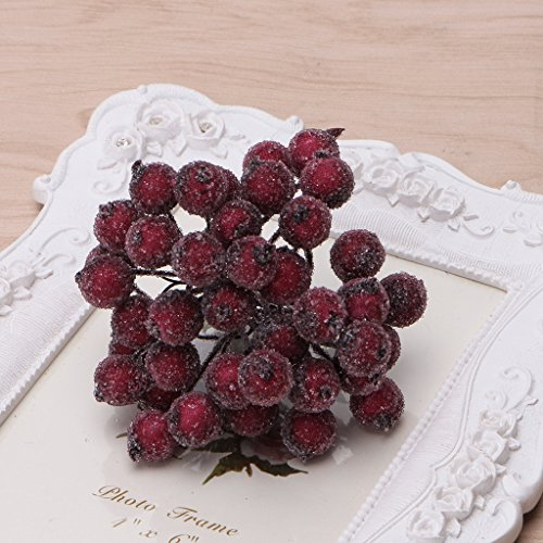 Frosted Holly (Misright 40 Pcs Decorative Mini Christmas Frosted Fruit Berry Holly Artificial Flower (Dark Red))
