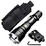 Klarus XT12GT Flashlight / Searchlight -CREE XPH35 HI D4 LED -1600 Lumens -Includes 1x 3600mAh Battery w/Offset Gun Mount +Tactical Holster
