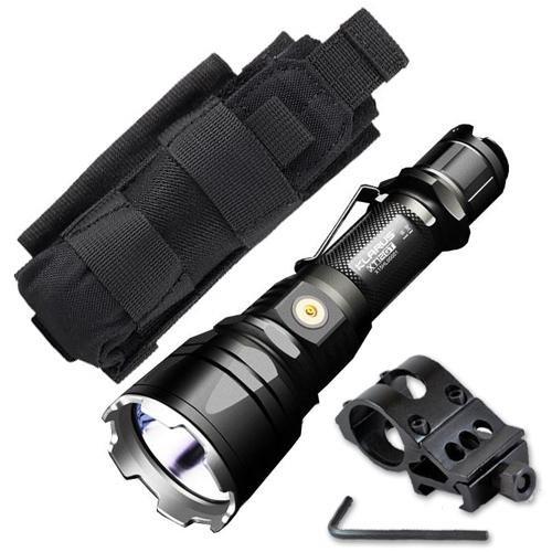 Klarus XT12GT Flashlight / Searchlight -CREE XPH35 HI D4 LED -1600 Lumens -Includes 1x 3600mAh Battery w/Offset Gun Mount +Tactical Holster by Klarus